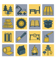 pulp paper and wood products icon set thin line vector image