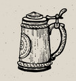 retro style beer mug or glass engraving local vector image vector image