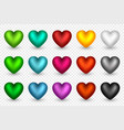 set of 3d hearts in different colors decorative vector image