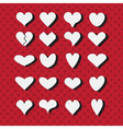 Set of white heart shapes icons with black shadows vector image