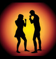 silhouette of fighting couple vector image