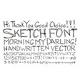 sketch font alphabet handwritten comic strip vector image
