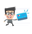 Thief with plastic card vector image vector image