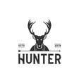 vintage hunter logo design inspiration in black vector image