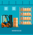 warehouse interior colorful composition vector image vector image