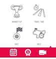 Winner cup race timer and flag icons