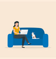 woman sitting on sofa with laptop freelance vector image vector image