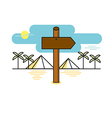 Wooden sign shaped like an arrow on desert path ve vector image