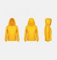 yellow hoodie sweatshirt 3d realistic vector image vector image