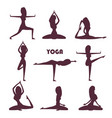 yoga exercises and meditation female silhouettes vector image