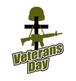 Cross and military helmet with gun Veterans Day vector image
