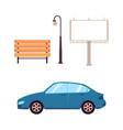 flat street objects - car bench light billboard vector image