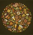 set of beer cartoon doodle objects symbols vector image