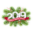 2019 numbers on christmas tree branches vector image vector image