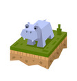 3d isometric hippo vector image