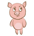 angry pig on white background vector image vector image