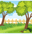 background scene with trees and fence vector image