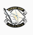 barber shop logo with lettering vector image