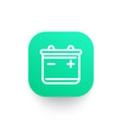 battery line icon on green shape vector image vector image