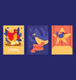 bird card design set of vector image