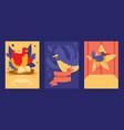 bird card design set vector image