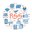 blue round rss concept vector image vector image