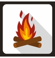 Burning bonfire icon flat style vector image vector image