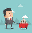 business pushing cart with money vector image