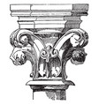 capital volutes vintage engraving vector image vector image