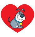 Cartoon dog with a heart background vector image vector image