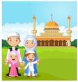 Cartoon happy Muslim family vector image