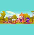 children playing at playground in kindergarten vector image vector image