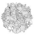 christmas characters circle shape pattern for colo vector image vector image