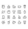 coffee and tea line icons teapot coffeepot vector image
