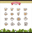 coffee mugs and cups brown outline icons set vector image