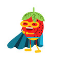 cute cartoon smiling strawberry superhero in mask vector image vector image