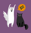 cute halloween ghost and black cat vector image vector image