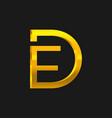 df letter gold gradient logo vector image vector image