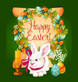 easter eggs with rabbit card on paper scroll vector image