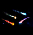 falling comets asteroids or meteors with flame vector image