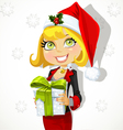 Festive business lady in Santas cap gives a gift vector image vector image