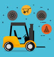 forklift with under construction equipment vector image vector image