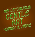 gentle art typeface green golden font isolated vector image vector image