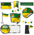 glossy icons with flag of province saskatchewan vector image vector image
