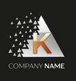 golden letter k logo in silver pixel triangle vector image