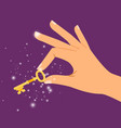 golden sparkling key in hand vector image vector image