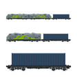 green locomotive with cargo container vector image vector image