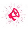 grunge megaphone icon red vintage drawing speaker vector image