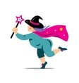Halloween Witch with magic wand Cartoon vector image vector image