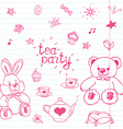Hand drawn set of tea party with stuffed toys tea vector image